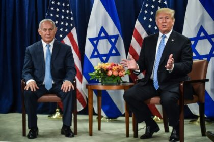 US President Donald Trump (R) meets with Israeli Prime Minister Benjamin Netanyahu on September 26, 2018 in New York on the sidelines of the UN General Assembly