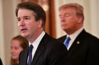 Appeals court judge Brett Kavanaugh (L) on July 9, 2018, the day President Donald Trump announced his nomination for the Supreme Court