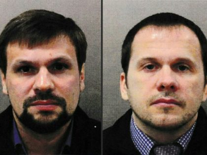 The man identified by British police as Ruslan Boshirov (left) and his alleged accomplice Alexander Petrov. Borishov is in fact highly decorated colonel Anatoly Chepiga in Russian military intelligence, according to the Bellingcat investigative group