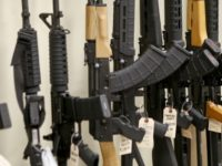 This March 1, 2018 file photo shows a display of various models of semi-automatic rifles at a store in Pennsylvania. Research published Tuesday, Sept. 11, 2018 in the Journal of the American Medical Association shows active shooters with semi-automatic rifles wound and kill twice as many people as those using …