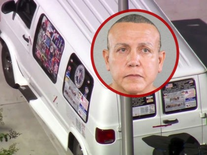 This frame grab from video provided by WPLG-TV shows a van parked in Plantation, Fla., on Friday, Oct. 26, 2018, that federal agents and police officers have been examining in connection with package bombs that were sent to high-profile critics of President Donald Trump. The van has several stickers on …