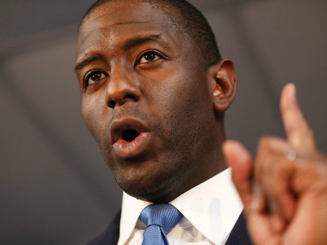 Andrew Gillum the Democratic candidate for Florida Governor speaks during a campaign rally at the International Union of Painters and Allied Trades on August 31, 2018 in Orlando, Florida. Mr. Gillum is facing off against his Republican challenger Rep. Ron DeSantis (R-FL) in the November 6th election. (Photo by Joe …