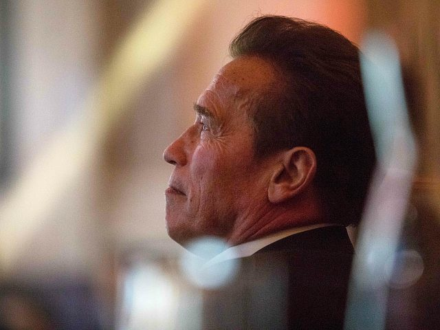 Arnold Schwarzenegger, holding the chair of the 'R20 Regions of Climate Action' attends the 'R20 Austrian World Summit' on climate change in Vienna, Austria on May 15, 2018. (Photo by ALEX HALADA / AFP) (Photo credit should read ALEX HALADA/AFP/Getty Images)