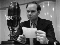4th January 1956: BBC Radio presenter, Cliff Michelmore, reads a request during a recording of 'Housewife's Choice', a popular music programme with over six million listeners each week. (Photo by John Firth/BIPs/Getty Images)