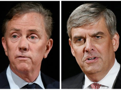 This pair of Sept. 26, 2018 file photos shows Democrat Party gubernatorial candidate Ned Lamont, left, and Republican Party gubernatorial candidate Bob Stefanowski after a debate at the University of Connecticut in Storrs, Conn. The two men will face off in the November general election. (AP Photo/Jessica Hill, File)
