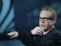 "U.S. writer Bret Easton Ellis is flanked by Italian anchorman Fabio Fazio during the Italian State RAI TV program ""Che Tempo che Fa"", in Milan, Italy, Saturday, Oct.16, 2010. Ellis presented his new book 'Imperial Bedrooms'. (AP Photo/Luca Bruno)"