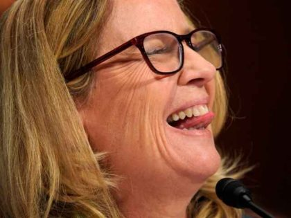 Christine Blasey Ford sticks out tongue