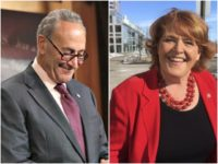Combo photo of Schumer and Heitkamp, both smiling