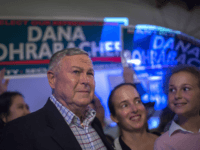Republican Rep. Dana Rohrabacher, 48th District, speaks to supporters on election night at his campaign headquarters on June 5, 2018 in Costa Mesa, California. California could play a determining role in upsetting Republican control the U.S. Congress. Democrats hope to win 10 of the 14 seats held by Republicans. (Photo …