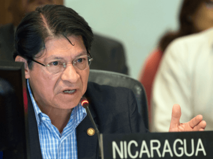 Nicaragua's representative to the Organization of American States (OAS) Denis Moncada Colindres speaks the OAS headquarters in Washington, DC on July 18, 2018. - The Organization of American States called on Nicaraguan President Daniel Ortega to work with the opposition to set dates for early elections in the violence-wracked Central …