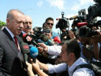 Turkey's President Recep Tayyip Erdogan speaks to the media in Ordu, Turkey, Saturday, Aug. 11, 2018.(Presidential Press Service via AP, Pool)