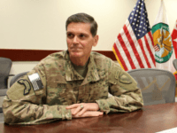 The US military's Central Command chief Army General Joseph Votel speaks to AFP at an undisclosed military base in Southwest Asia on October 27, 2016. Votel said between 800 and 900 Islamic State group fighters have been killed since the Iraqi-led operation to recapture Mosul from the jihadists began. / …