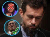 (INSETS: Candace Owens and Louis Farrakhan) WASHINGTON, (DC - SEPTEMBER 5: Twitter chief executive officer Jack Dorsey looks on during a Senate Intelligence Committee hearing concerning foreign influence operations' use of social media platforms, on Capitol Hill, September 5, 2018 in Washington, DC. Twitter CEO Jack Dorsey and Facebook chief …
