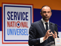 French Prime Minister Edouard Philippe gestures as he addresses an audience in Avignon on September 13, 2018, while launching a series of consultations on 'universal national service'. (Photo by Boris HORVAT / AFP) (Photo credit should read BORIS HORVAT/AFP/Getty Images)