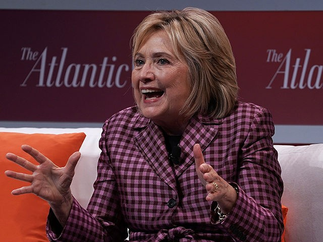 """WASHINGTON, DC - OCTOBER 02: Former U.S. Secretary of State Hillary Clinton participates in a discussion during the 2018 Atlantic Festival October 2, 2018 in Washington, DC. The Atlantic held its annual festival on """"the most consequential topics facing us today."""" (Photo by Alex Wong/Getty Images)"""