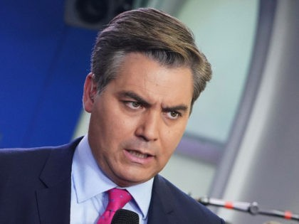 CNN chief White House correspondent Jim Acosta is seen before a briefing by White House Press Secretary Sarah Sanders in the Brady Briefing Room of the White House in Washington, DC on October 3, 2018. (Photo by MANDEL NGAN / AFP) (Photo credit should read MANDEL NGAN/AFP/Getty Images)