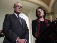 WASHINGTON, DC - OCTOBER 4: (L-R) Senate Minority Leader Chuck Schumer (D-NY) and Senate Judiciary Committee ranking member Dianne Feinstein (D-CA) hold a press conference to discuss the FBI report on Supreme Court nominee Brett Kavanaugh on Capitol Hill, October 4, 2018 in Washington, DC. Kavanaugh's confirmation process was halted …