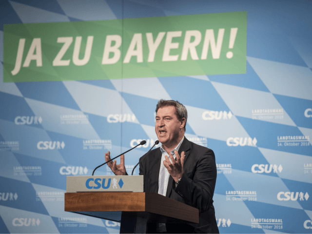 WURZBURG, GERMANY - OCTOBER 09: Markus Soeder, Governor of Bavaria and lead candidate for the Bavarian Social Union(CSU), the Bavarian Christian Democrats, speaks at a CSU election rally on October 9, 2018 in Wurzburg, Germany. Bavaria is scheduled to hold state elections on October 14. So far the CSU, traditionally …