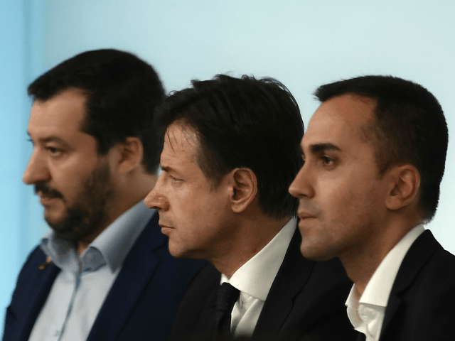 (From L) Italy's Deputy Prime Minister and Interior Minister, Matteo Salvini, Italy's Prime Minister, Giuseppe Conte and Italy's Deputy Prime Minister and Minister of Economic Development, Labour and Social Policies, Luigi Di Maio attend a press conference following a Cabinet meeting on the country's draft budget, prior to its submission …