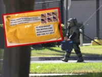 SUNRISE, FL - OCTOBER 24: A member of the Broward Sheriff's Office bomb squad is seen as he investigates a suspicious package in the building where Rep. Debbie Wasserman Schultz (D-FL) has an office on October 24, 2018 in Sunrise, Florida. The Secret Service said it intercepted an explosive device …