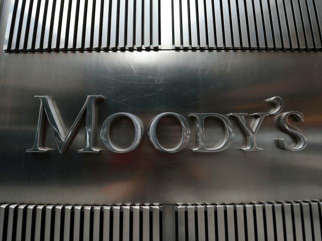 A sign for Moody's rating agency is displayed at the company headquarters in New York, September 18, 2012. AFP PHOTO/Emmanuel Dunand / AFP / EMMANUEL DUNAND (Photo credit should read EMMANUEL DUNAND/AFP/Getty Images)