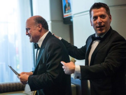 WASHINGTON, DC - MAY 3: Actor Jim Cramer (L) arrives at the 100th Annual White House Correspondents' Association Dinner at the Washington Hilton on May 3, 2014, in Washington D.C. (Photo by Allison Shelley/Getty Images)