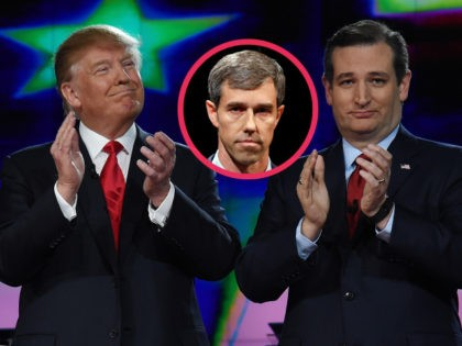 (INSET: Beto O'Rourke) LAS VEGAS, NV - DECEMBER 15: Republican presidential candidates Donald Trump (L) and Sen. Ted Cruz (R-TX) applaud as they are introduced during the CNN presidential debate at The Venetian Las Vegas on December 15, 2015 in Las Vegas, Nevada. Thirteen Republican presidential candidates are participating in …