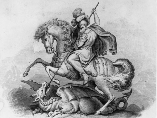 Circa 300 AD, St George, patron saint of England and Portugal, slaying the dragon. Original Artwork: 19th century engraving (Photo by Hulton Archive/Getty Images)