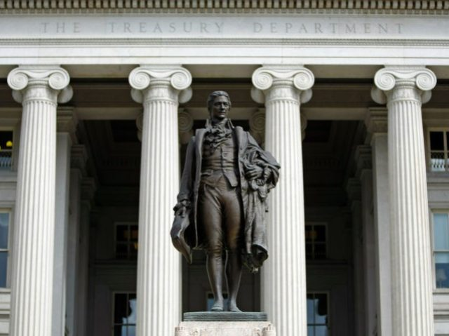 WASHINGTON - SEPTEMBER 19: A statue of the first United States Secretary of the Treasury Alexander Hamilton stands in front of the U.S. Treasury September 19, 2008 in Washington, DC. Treasury Secretary Henry Paulson announced that the Treasury will insure money market mutual funds as one part of a massive …