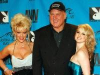 LAS VEGAS - JANUARY 10: (L-R) Air Force Amy, Bunny Ranch owner Dennis Hof and adult film actress Sunny Lane arrive at the 26th annual Adult Video News Awards Show at the Mandalay Bay Events Center January 10, 2009 in Las Vegas, Nevada. (Photo by Ethan Miller/Getty Images)