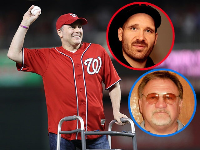 (INSETS: Martin Cizmar, James Hodgkinson) WASHINGTON, DC - OCTOBER 06: House Majority Whip Steve Scalise (R-LA) throws the ceremonial first pitch prior to game one of the National League Division Series between the Chicago Cubs and Washington Nationals at Nationals Park on October 6, 2017 in Washington, DC. (Photo by …