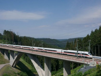 A picture taken on May 26, 2018 shows an ICE high speed train of German Deutsche Bahn driving on the new high-speed railway line between Nuremberg and Erfurt, near the village of Goldisthal, Germany. (Photo by Christof STACHE / AFP) (Photo credit should read CHRISTOF STACHE/AFP/Getty Images)