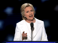 PHILADELPHIA, PA - JULY 28: Democratic presidential candidate Hillary Clinton delivers remarks during the fourth day of the Democratic National Convention at the Wells Fargo Center, July 28, 2016 in Philadelphia, Pennsylvania. Democratic presidential candidate Hillary Clinton received the number of votes needed to secure the party's nomination. An estimated …