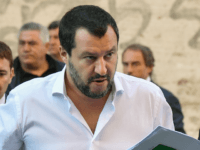 Italy's Interior Minister, Matteo Salvini arrives on October 8, 2018 to the headquarters of the Unione Generale del Lavoro (UGL, General Union of Labor) trade union in Rome, to attend a debate on the theme 'Economic growth and social prospects in a Europe of Nations' with the leader of France's …