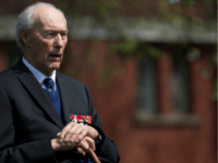 Norwegian World War II hero Joachim Ronneberg, 93, attends a wreath-laying ceremony in his honour at the SOE agents monument in central London on April 25, 2013, for leading the SOE operation Gunnerside where Norwegian soldiers destroyed the German occupied Heavy Water Plant in Vemork, Norway. AFP PHOTO / ANDREW …