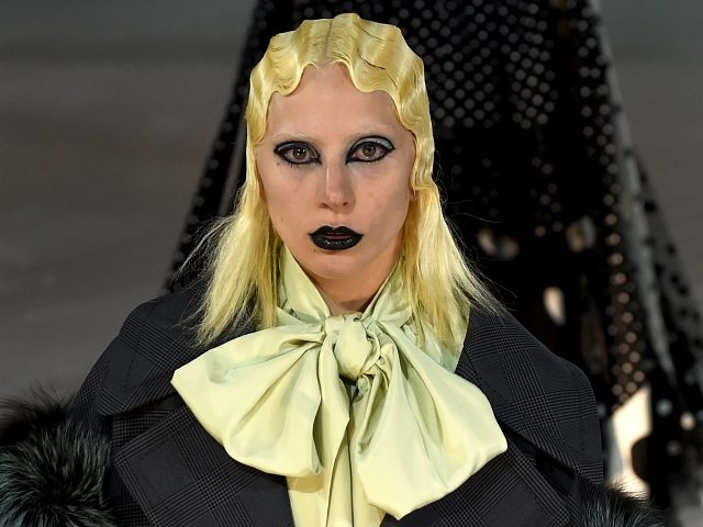 Lady Gaga walks the runway as she displays the fahion of Marc Jacobs February 18, 2016 at the Park Avenue Armory during the Fall 2016 New York Fashion Week: The Shows. / AFP / Timothy A. CLARY (Photo credit should read TIMOTHY A. CLARY/AFP/Getty Images)