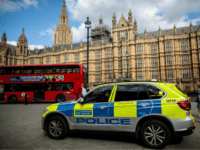 LONDON, ENGLAND - AUGUST 15: A police car sits parked outside the Houses of Parliament following yesterday morning's incident, which is being investigated by terror police on August 15, 2018 in London, England. 29-year-old Salih Khater was named by police today as the man arrested on suspicion of terror offences …