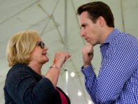 FILE - In this Aug. 17, 2017, file photo, Democratic Sen. Claire McCaskill, left, talks with Republican Missouri Attorney General Josh Hawley during the Governor's Ham Breakfast at the Missouri State Fair in Sedalia, Mo. Hawley announced in a video to be released Tuesday that he will run for the …