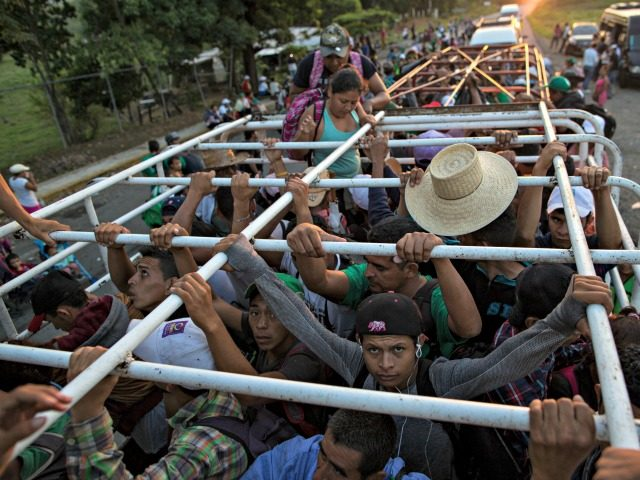 Migrants travel on a cattle truck, as a thousands-strong caravan of Central American migrants slowly makes its way toward the U.S. border, between Pijijiapan and Arriaga, Mexico, Friday, Oct. 26, 2018. Many migrants said they felt safer traveling and sleeping with several thousand strangers in unknown towns than hiring a …