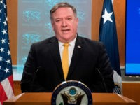 US Secretary of State Mike Pompeo speaks during a press briefing at the US Department of State in Washington, DC, on October 3, 2018. - The United States said Wednesday it was terminating a 1955 treaty reached with then ally Iran after Tehran cited it in an international court ruling …