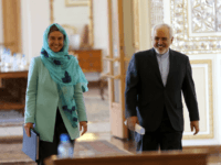 Iran's Foreign minister Mohammad Javad Zarif (R) and European Union High Representative for Foreign Affairs, Federica Mogherini arrive for a press conference after a meeting on April 16, 2016 in the capital Tehran. Mogherini arrived in Tehran on her first visit since a nuclear deal between Iran and world powers …