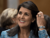 US Ambassador to the United Nations Nikki Haley attends the confirmation hearing for US Secretary of State nominee Mike Pompeo on Capitol Hill in Washington, DC, on April 12, 2018. / AFP PHOTO / JIM WATSON (Photo credit should read JIM WATSON/AFP/Getty Images)