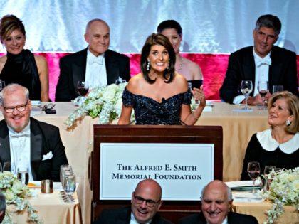 Keynote speaker Ambassador to the United Nations Nikki Haley addresses the 73rd Annual Alfred E. Smith Memorial Foundation Dinner Thursday, Oct. 18, 2018, in New York.