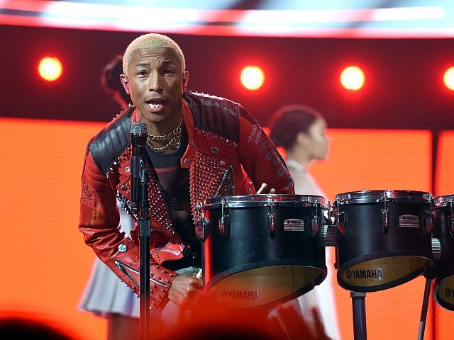 LOS ANGELES, CA - FEBRUARY 18: Pharrell Williams of N.E.R.D. perform at halftime of the NBA All-Star Game 2018 at Staples Center on February 18, 2018 in Los Angeles, California. (Photo by Kevork Djansezian/Getty Images)