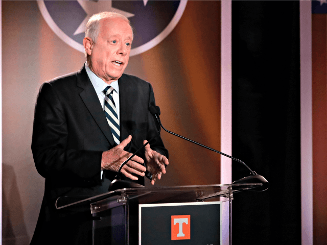 Democratic candidate and former Gov. Phil Bredesen speaks during the 2018 Tennessee U.S. Senate Debate at The University of Tennessee Wednesday, Oct. 10, 2018, in in Knoxville, Tenn.