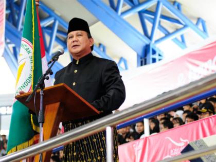 Prabowo opens the 2011 Pencak Silat SEA Games tournament held in Taman Mini, Jakarta. He is the Chairman of Indonesia's pencak silat organisation.