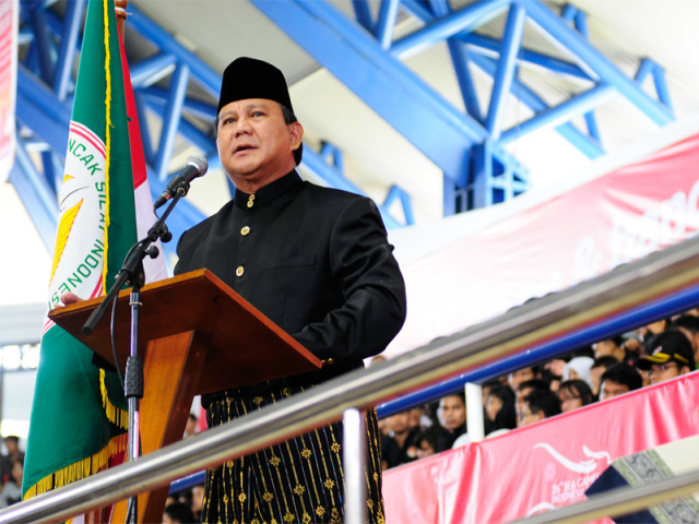 Prabowo opens the 2011 Pencak Silat SEA Games tournament held in Taman Mini, Jakarta. He is the Chairman of Indonesia's pencak silat organisation.