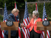 AYLESBURY, ENGLAND - JULY 13: Prime Minister Theresa May and U.S. President Donald Trump attend a joint press conference following their meeting at Chequers on July 13, 2018 in Aylesbury, England. US President, Donald Trump held bi-lateral talks with British Prime Minister, Theresa May at her grace-and-favour country residence, Chequers. …