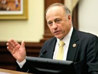 "In this Jan. 23, 2014, file photo, Republican U.S. Rep. Steve King of Iowa speaks in Des Moines. King told NewsMax TV in an interview published online on Sept. 13, 2016, that 49ers quarterback Colin Kaepernick's protest of the national anthem is ""activism that is sympathetic to ISIS."""