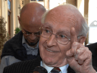 Retired French professor Robert Faurisson, with pin-striped suit, gestures as he speaks to journalists about Nazis during World War II, outside the University of Teramo campus in Teramo, central Italy, Friday May 18, 2007. The university closed one of its campuses for the day Friday, to prevent a planned lecture …